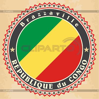Vintage-Label-Karten Republik Kongo Flagge | Stock Vektorgrafik |ID 4344772