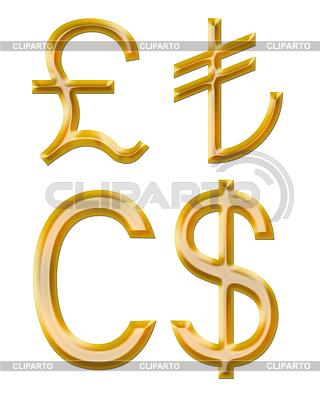 Zeichen der Währungen: Pfund, Kanadischer Dollar, Lire | Illustration mit hoher Auflösung |ID 4237362