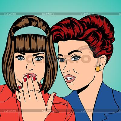 Zwei junge Freundinnen, Comic-Kunst | Stock Vektorgrafik |ID 4171649