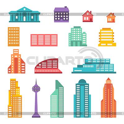 Stadtansicht Icon-Set von Gebäuden | Stock Vektorgrafik |ID 4158996