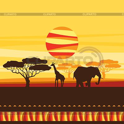 Afrikanischen ethnischen Hintergrund mit Savanne | Stock Vektorgrafik |ID 4342140