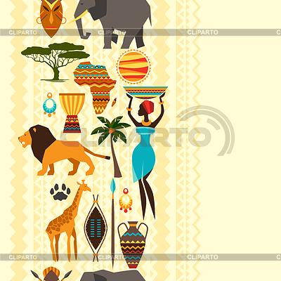 African etniczne szwu z ikon stylizowane | Klipart wektorowy |ID 4344930