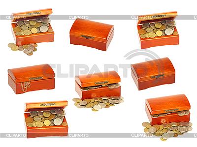 Set alte hölzerne Schatzschatulle mit Geld | Foto mit hoher Auflösung |ID 4085864