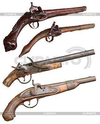 Isolated vintage Feuerwaffen Pistolen der XIVII-XIX | Foto mit hoher Auflösung |ID 4242146