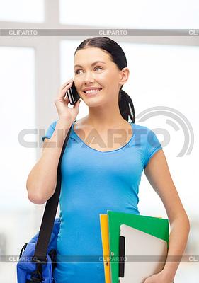 Student mit Ordner, Tablet-PC, Smartphone und Tasche | Foto mit hoher Auflösung |ID 4446198