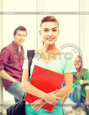 Student Mädchen mit Ordner und Schultasche | Foto mit hoher Auflösung |ID 4467958