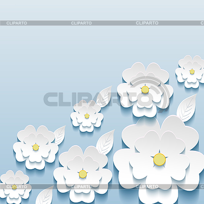Schöne trendige Tapeten mit 3D-Blumen sakura | Stock Vektorgrafik |ID 4350788