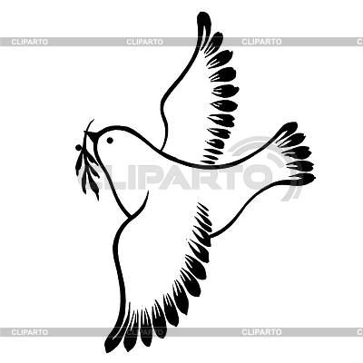 Dekorative Silhouette von fliegenden Taube des Friedens | Stock Vektorgrafik |ID 4126606