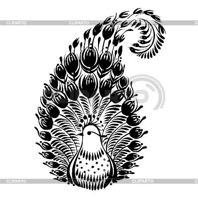 Dekoracyjny sylwetka kwiatowym paisley | Klipart wektorowy |ID 4127398