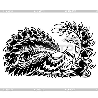 Dekoracyjne sylwetki pawia | Klipart wektorowy |ID 4130013