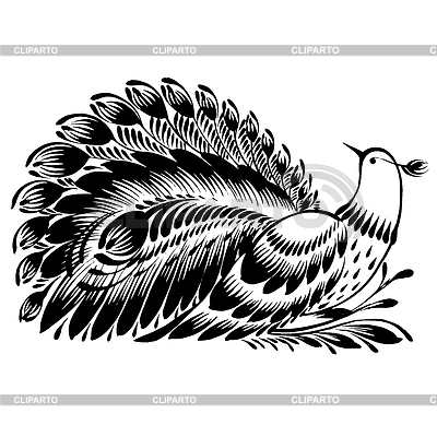 Dekoracyjne sylwetki pawia | Klipart wektorowy |ID 4130014