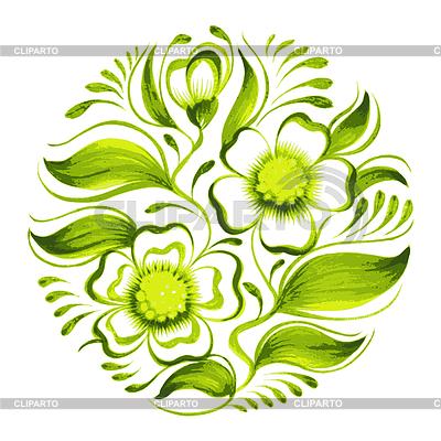 Dekorative Kreis Zweig der grünen Tee mit Blüten | Stock Vektorgrafik |ID 4204198
