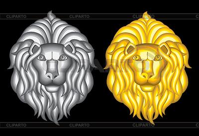 Srebrne i złote głowy lwa | Klipart wektorowy |ID 4297756