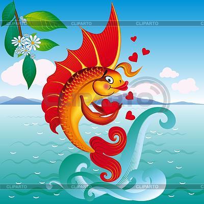 Рисунок золотая рыбка на волне рисунок