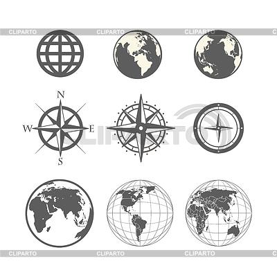 Globe und Windrose Schema Sammlung | Stock Vektorgrafik |ID 4168619
