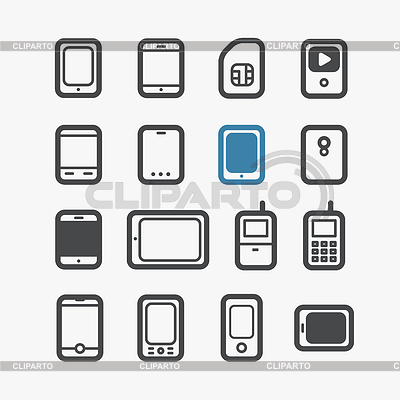 Different mobile phones icons set with rounded | Klipart wektorowy |ID 4168622
