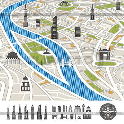 Abstrakt Stadtplan mit Silhouetten von Häusern | Stock Vektorgrafik |ID 4168626