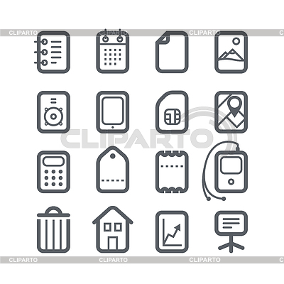 Different vertical Web icons set with rounded | Klipart wektorowy |ID 4190144
