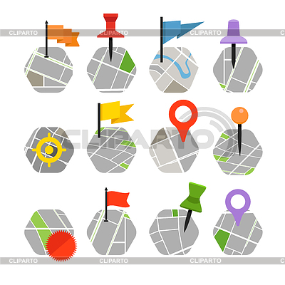 Abstrakt Stadtplan mit Symbolen Sammlung. Design | Stock Vektorgrafik |ID 4248668