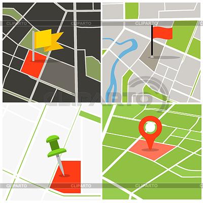 Abstrakt Stadtplan Sammlung mit Stiften | Illustration mit hoher Auflösung |ID 4277627
