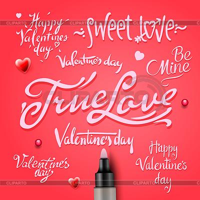 Набор Днем Святого Валентина День стороны надписи | Векторный клипарт |ID 4121630