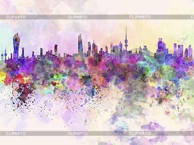 Kuwait-Stadt-Skyline im Hintergrund Aquarell | Illustration mit hoher Auflösung |ID 4107054