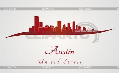 Austin Skyline w kolorze czerwonym | Klipart wektorowy |ID 4122413