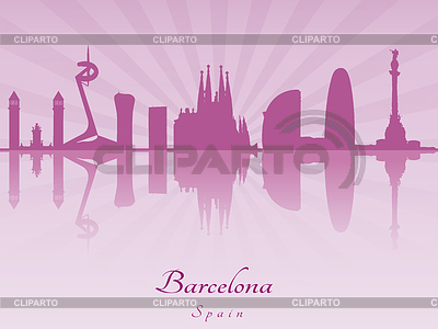Barcelona skyline in purple radiant orchid | Klipart wektorowy |ID 4156410