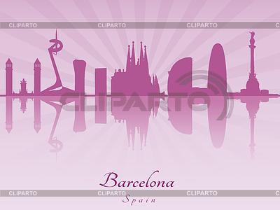 Barcelona Skyline in lila Orchidee strahl | Stock Vektorgrafik |ID 4156410