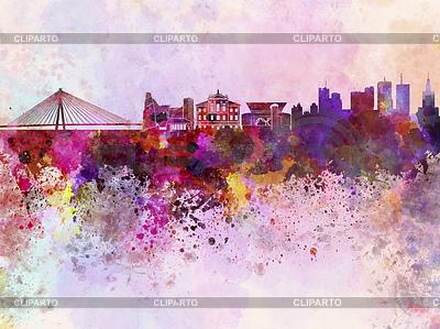 Skyline von Warschau in Aquarell-Hintergrund | Illustration mit hoher Auflösung |ID 4183039