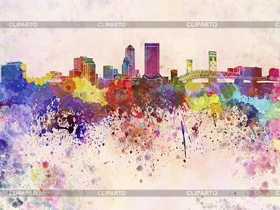 Jacksonville skyline w tle akwarela | Stockowa ilustracja wysokiej rozdzielczości |ID 4216687