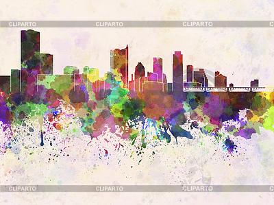 Austin Skyline w akwarela | Stockowa ilustracja wysokiej rozdzielczości |ID 4228128