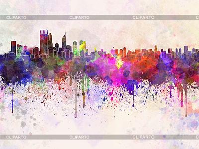 Perth Skyline in Aquarell-Hintergrund | Illustration mit hoher Auflösung |ID 4240681