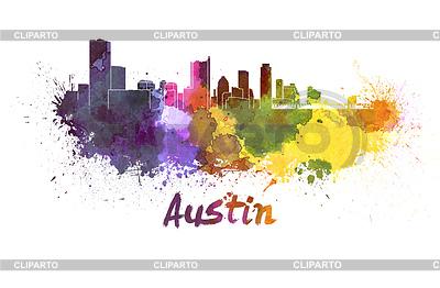Austin skyline in watercolor | 높은 해상도 그림 |ID 4304771