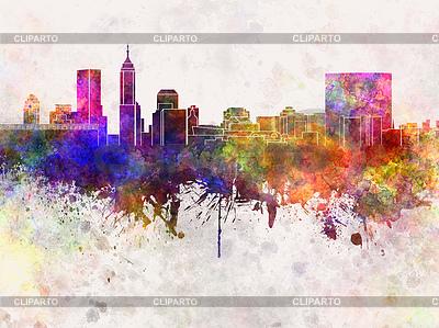 Индианаполис горизонты в фоне акварель | Иллюстрация большого размера |ID 4368928