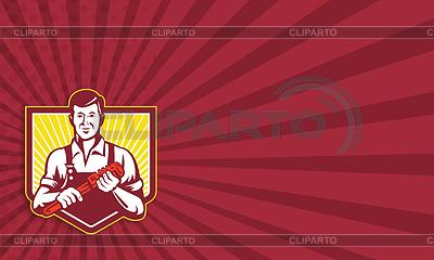 Klempner mit Schraubenschlüssel retro | Illustration mit hoher Auflösung |ID 4106934