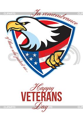 Glückliche Veterans Day American Eagle Grußkarte | Illustration mit hoher Auflösung |ID 4124819