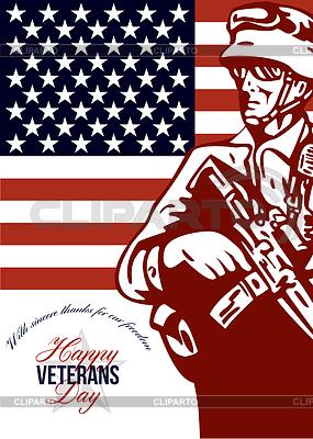 Veterans Day Modern American Soldier Card | Stockowa ilustracja wysokiej rozdzielczości |ID 4124832