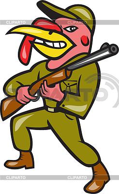 Turkey Hunter Carry Rifle Shotgun Cartoon | Stockowa ilustracja wysokiej rozdzielczości |ID 4131923