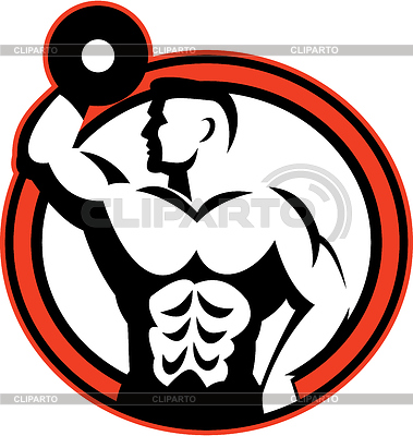 Bodybuilder Lifting Dumbbell Retro | Stockowa ilustracja wysokiej rozdzielczości |ID 4167880