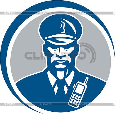 Security Guard Polizist Radio-Kreis | Illustration mit hoher Auflösung |ID 4167908