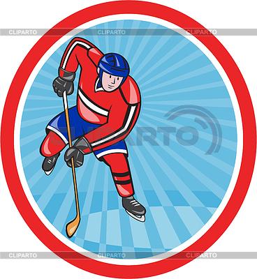 스틱 만화와 아이스 하키 선수 앞 | 높은 해상도 그림 |ID 4202259