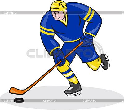 Eishockey-Spieler Side Mit Stock-Karikatur | Illustration mit hoher Auflösung |ID 4202260