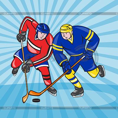 Eishockey-Spieler vorne mit Stock Retro | Illustration mit hoher Auflösung |ID 4202261