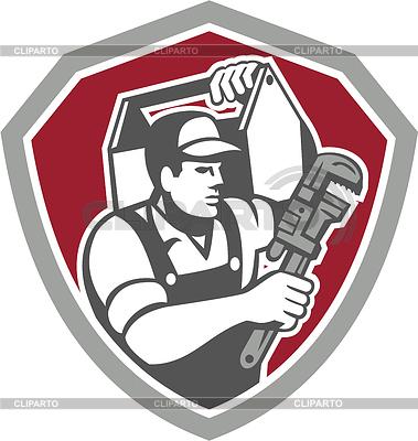 Klempner Carry Toolbox Wrench Schild Retro | Illustration mit hoher Auflösung |ID 4202269