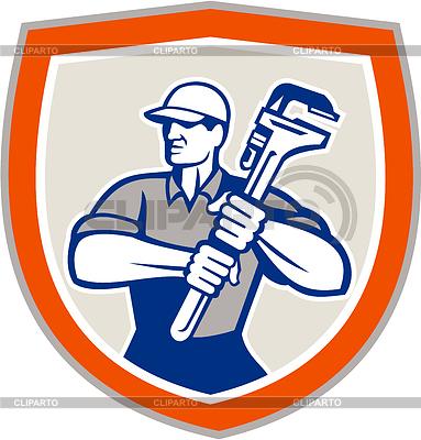 Plumber Holding Giant Monkey Wrench Shield | Stockowa ilustracja wysokiej rozdzielczości |ID 4245242