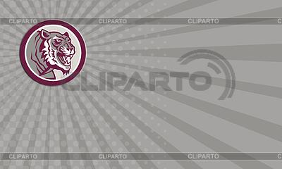 Wizytówka Tiger Szef Warczenie Side Koło Retro | Stockowa ilustracja wysokiej rozdzielczości |ID 4300397