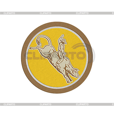 Metallic Rodeo Cowboy Bull Riding Retro Circle | 높은 해상도 그림 |ID 4339985