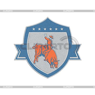 Metallic Rodeo Cowboy Bull Riding Retro Shield | Stockowa ilustracja wysokiej rozdzielczości |ID 4340065