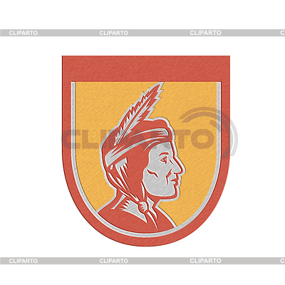 Metallic Native American Indian Chief Shield Retro | 높은 해상도 그림 |ID 4340264
